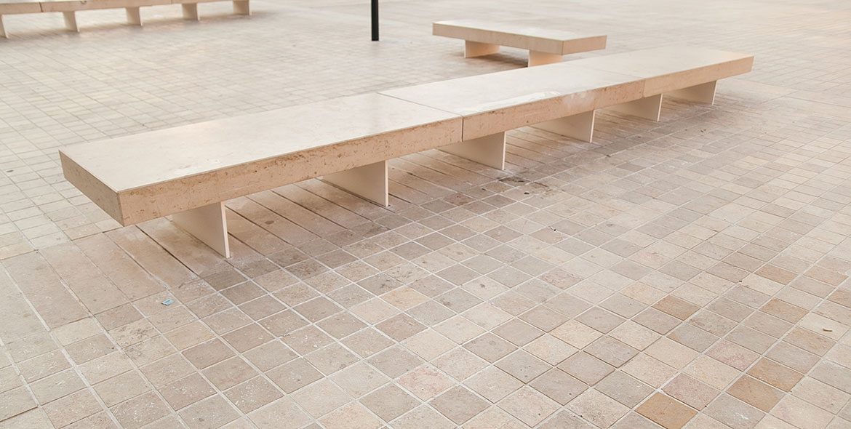 Classical limestone bench