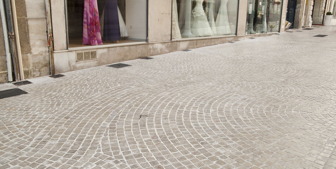 Town cobbles laid in natural Burgundy stone in Poitiers