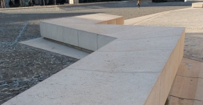 Solid benches on the square in front of Reims cathedral (51)