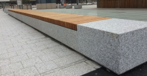 Design bench with granit and wood