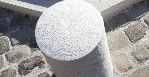 Bollard made with bushammered Comblanchien
